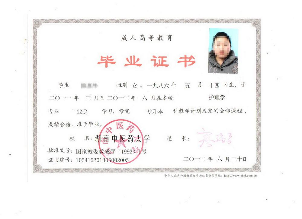 湖南中医药大学专升本毕业证书